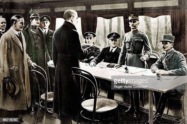 War 19141918 Signature of the armistice with Rethondes with of righthand side on the left the Weygand general the Foch marshal Sir R Wemyss Sir Hope...