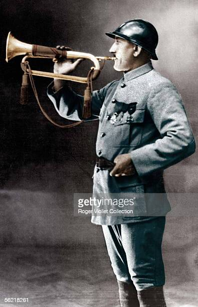 War 19141918 The clarion Saddler who sounded the ceasefire on November 11 1918 Colourized photo