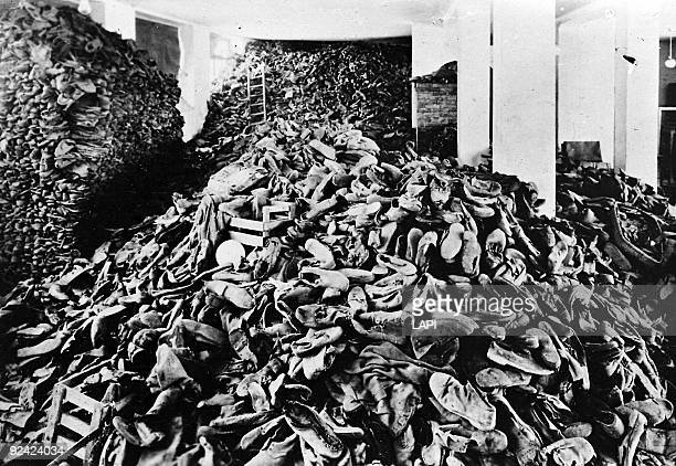 War 19391945 Auschwitz's concentration camp the hangar of shoes Roger Viollet via Getty Images34332