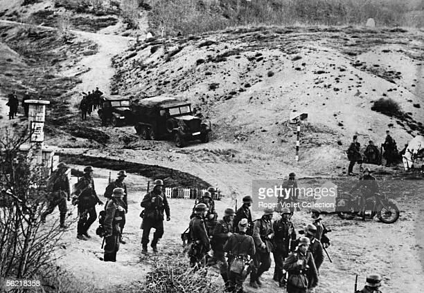 War 1939-1945. Front of Greece. The German army crossing the frontier of the Greece in the morning of the April 6, 1941.
