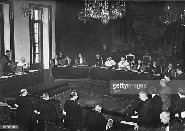 War 19391945 Riom lawsuit the president of the Court Caous in the centre and the general prosecutor Cassagneau to the left in February 1942