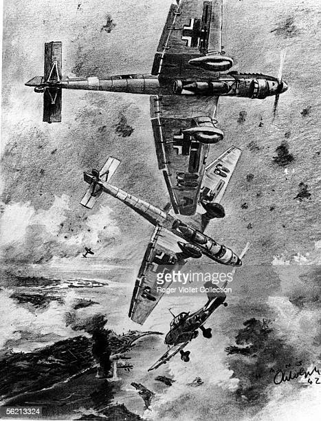 War 19391945 Stukas dive bombing run a bridge in spite of the DCA English Drawing by Adolph war reporter Malta September 1942