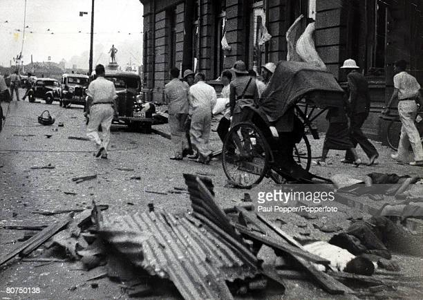 War and Conflict 2nd SinoJapanese War pic 1937 Bodies and wreckage on the street outside the Hotel Cathay in Shanghai as innocent people had been...