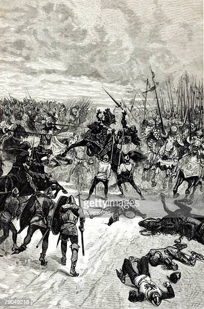 War and Conflict 7th August 1346 The Battle of Crecy The image shows the death of the King of Bohemia in the battle where King Edward III of England...