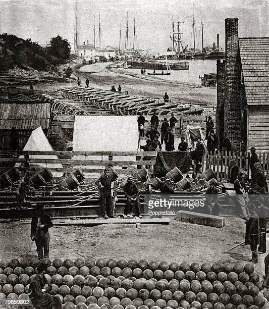 War and Conflict American Civil War 18611865 pic 1862 General McClellan's Union artillery at Yorktown after the town had been taken from the...