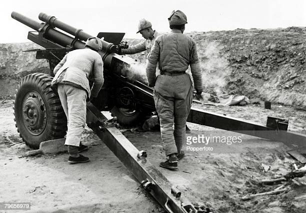 War and Conflict Chinese Civil War pic 12 th May 1948 An American 105 mm howitzer used by the Nationalist force in their attempt to hold on to Suchow...