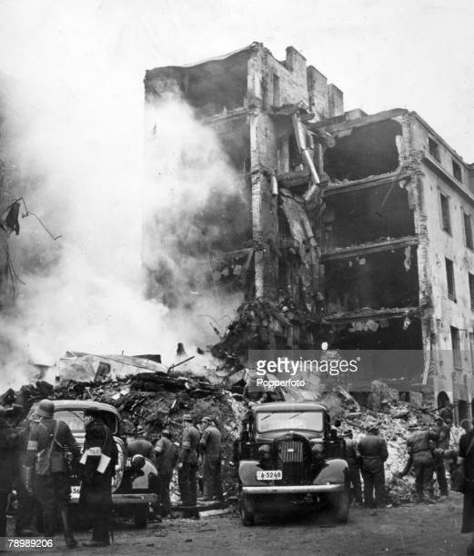 1939 The Winter War A building in Helsinki destroyed after being bombed by Soviet planes in an incident which left many fatalities women and children...