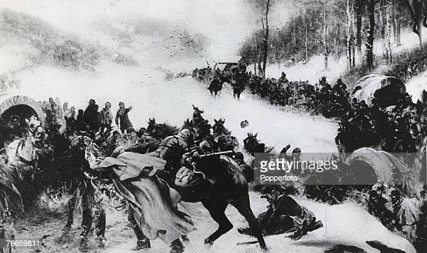 War and Conflict, Franco- Prussia War, Illustration, , The French Army of the East retreating over the Swiss frontier in February 1871