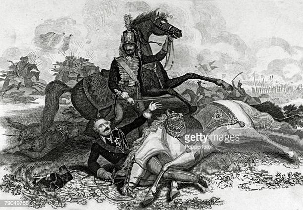War and Conflict Illustration 16th June 1815 The Battle of Ligny Field Marshal Blucher is rescued by his attendant after his horse had been shot...