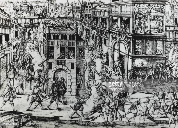 War and Conflict Illustration 24th August 1572 The Massacre of Saint Bartholomew when French Protestant Huguenots were killed