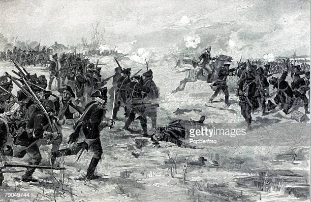 War and Conflict Illustration American War of Independence Battle of Princeton 3rd January 1777 American General Washington rides to the front to...