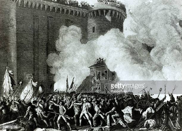 War and Conflict Illustration The French Revolution 14th July 1789 The storming of the Bastille the murder of De Launay the prison governor