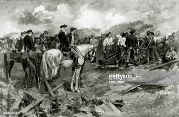 War and Conflict IllustrationThe American War of Independence pic 1781 This illustration shows the American guns at the siege of Yorktown The British...