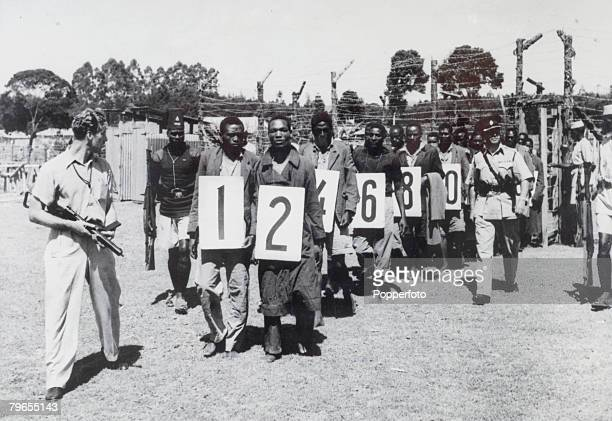 War and Conflict Mau May Uprising Kenya East Africa pic 16th April 1953 Suspected members of the Mau Mau terrorist group with numbers around their...