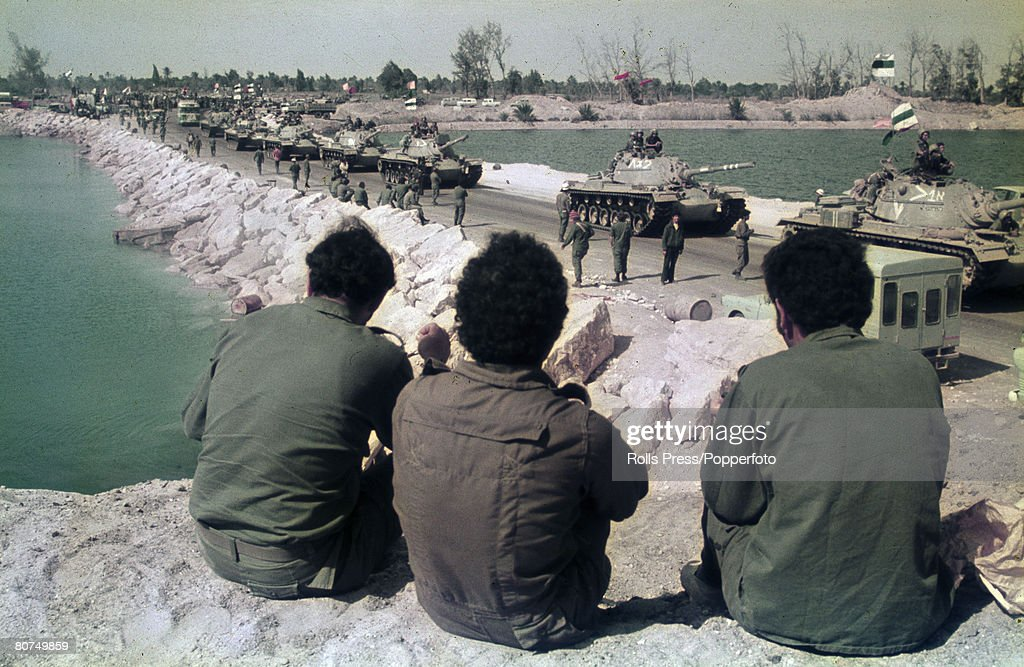 War and Conflict, Middle East, Yom Kippur War, pic: February 1974, An Israeli convoy of tanks use the same dam-like bridge they used to invade Egyptian soil, the Israelis cross the Suez Canal to end 129 days of occupation, in the final withdrawal of their forces as agreed in the kilometer 101 talks
