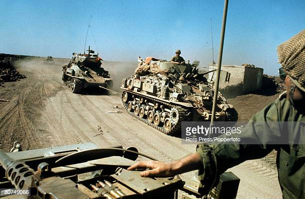 War and Conflict Middle East Yom Kippur War pic October 1973 Israeli M32 ARV towing a MK Super Sherman tank during the Israeli Arab fighting