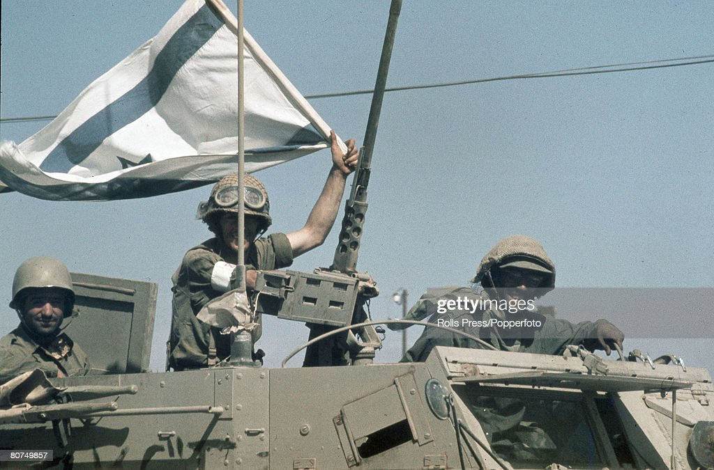 War and Conflict, Middle East, Yom Kippur War, pic: October 1973, Victorious Israeli soldiers wave their national flag from an armoured personnel carrier on the advance into Syria