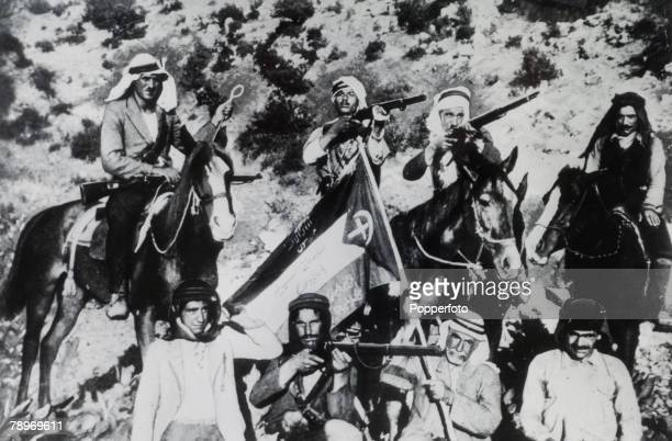 November 1938 So called Arab insurgents pictured during the Arab revolt in Palestine This photograph was found on the body of Nur Ibrahim a well...