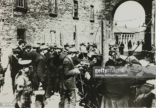 War and Conflict Politics Dublin Ireland The Easter Uprising pic June 1916 Relatives of Republicans visiting the prisoners through the wire at the...