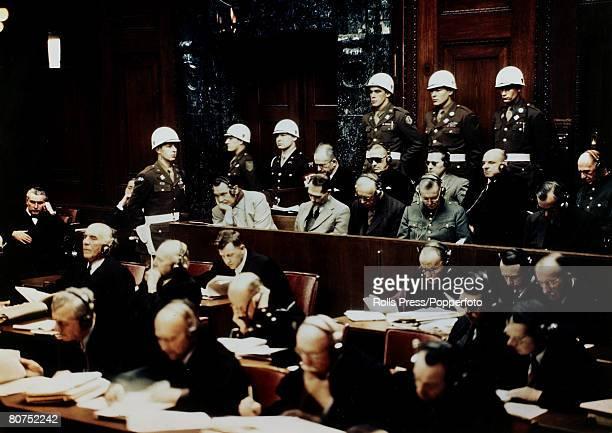 War and Conflict Post World War Two Nuremberg War Crimes Trials pic November 1945 German Nazi leaders in the dock at Nuremberg facing war crimes...