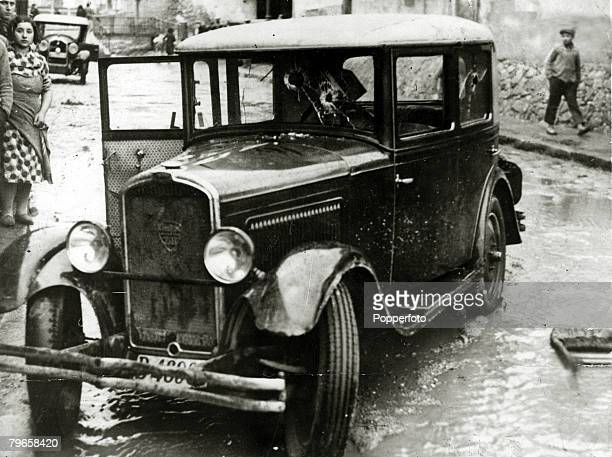 War and Conflict Pre Spanish Civil War pic 1930's This bullet ridden car was attacked by young communists near Barcelona who shot dead the occupants...