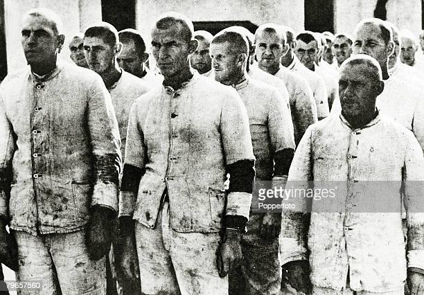 circa 1938 A group of political prisoners held at the Dachau concentration camp by the Nazi's for their opposition to the German regime