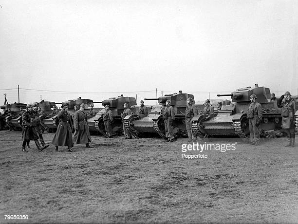 15th April 1939 A Polish tank division is inspected near Warsaw