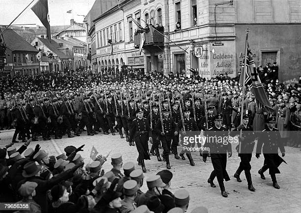 3rd April 1939 German sailors pictured as they arrive in Memel Lithuania