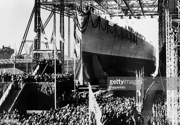 War and Conflict PreWorld War Two Sea War February 1939 The new German battleship 'Bismarck' of 35 000 tons is launched at the 'Blehm and Voss...