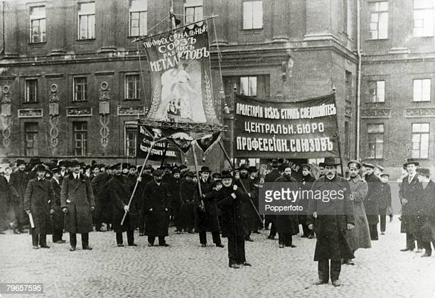 War and Conflict Russian Revolution pic1917 A workers demonstration in Petrograd as the men display their banners