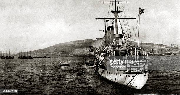 War and Conflict RussoJapanese War 19041905 The Russian cruiser 'Bayan' at Port Arthur the ship being sunk by Japanese artillery on 22nd November...