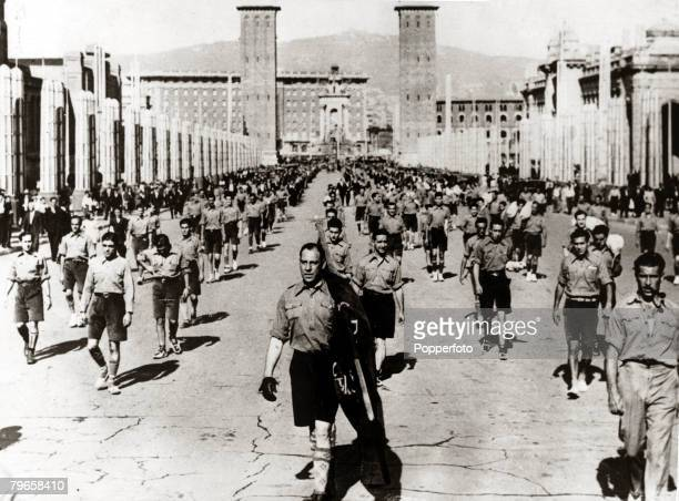 War and Conflict Spain Pre Spanish Civil War pic 1931 A procession of young Fascists marching through the buildings of the Barcelona Exhibition With...
