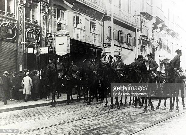 December 1930 Civil Guards keeping order in Bilbao at the time when disaffected officers including Major Ramon Franco had launched an unsuccessful...