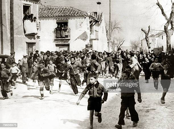 War and Conflict Spanish Civil War pic 1st April 1939 Jubilation in the village of Templique near Madrid after the capital had surrendered to...