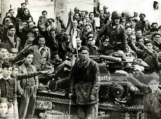 War and Conflict Spanish Civil War pic 1st April 1939 Nationalist soldiers and their tank welcomed on to the streets of Madrid by young and old who...