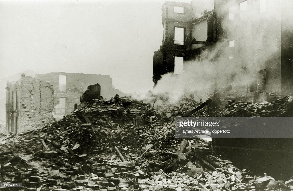 War and Conflict, Spanish Civil War (1936-1939), pic: 1st May 1937, A scene of devastation in Guernica after an aerial bombardment by German and Italian planes which caused great loss of life, With what started as a military uprising in Morocco, headed by General Franco, the fighting spread rapidly to start the Spanish Civil War, Outside support was provided by the International Brigade who helped the Republican cause and by Germany and Italy both allied to the Nationalists, Once Government resistance was exhausted, many of their people fled to France and the Nationalists entered Madrid on 28th March 1939 with General Franco then being able to call an end to the war