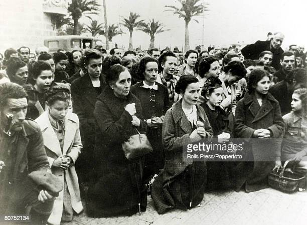 War and Conflict Spanish Civil War pic 26th January 1939 Devout women residents of Tarragonapraying on their kneesThe Catalan city had been captured...