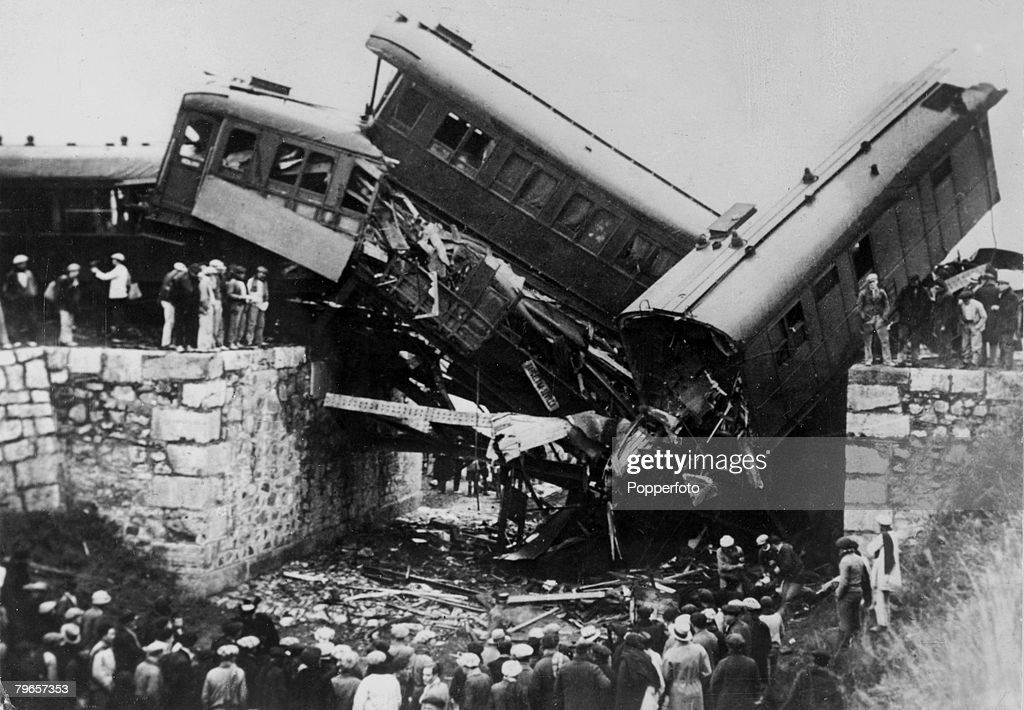"""War and Conflict, Spanish Civil War, pic: circa 1936, Wrecked coaches of the Barcelona - Seville express train which was blown up by a contact bomb, placed on a bridge near Valencia, Thirty nine people died int he blast which was blamed on """"Red"""" revolutio : News Photo"""