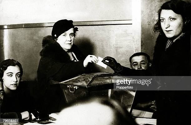 War and Conflict Spanish Civil War pic February 1936 A woman recording her vote in Madrid during the Spanish elections With what started as a...