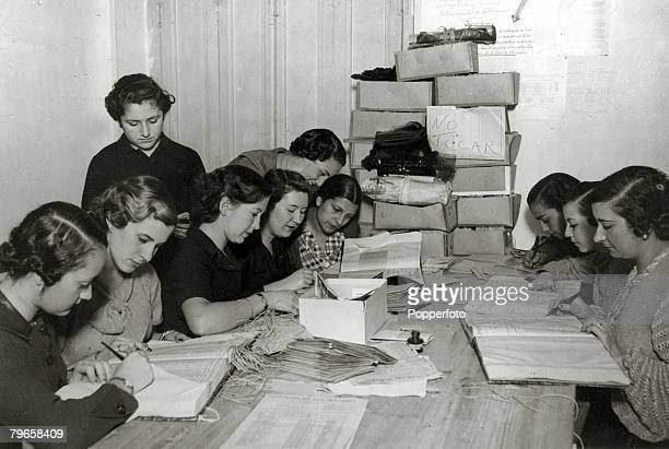 War and Conflict Spanish Civil War pic February 1936 Women taking part in Spain's General Election showing a number of girls at work in the offices...
