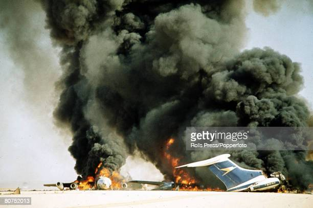 12th September 1970 Dawson's Field Jordan The three highjacked jet airliners hijacked by Palestinian militants are blown up at the former RAFdesert...