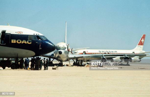 September 1970 Dawson's Field Jordan The three highjacked jet airliners hijacked by Palestinian militants and later blown up at the former RAFdesert...