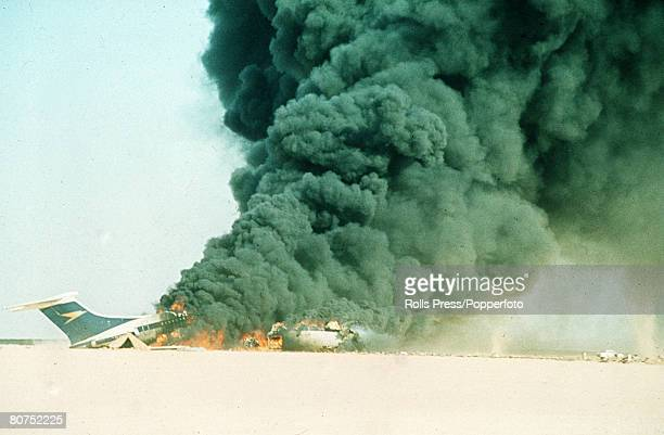 September 1970 Dawson's Field Jordan The three highjacked jet airliners hijacked by Palestinian militants are blown up at the former RAFdesert...