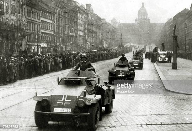 War and Conflict The invasion and occupation of Czechoslovakia pic 22nd March 1939 Armoured cars taking part in the 2 hour parade on the streets of...
