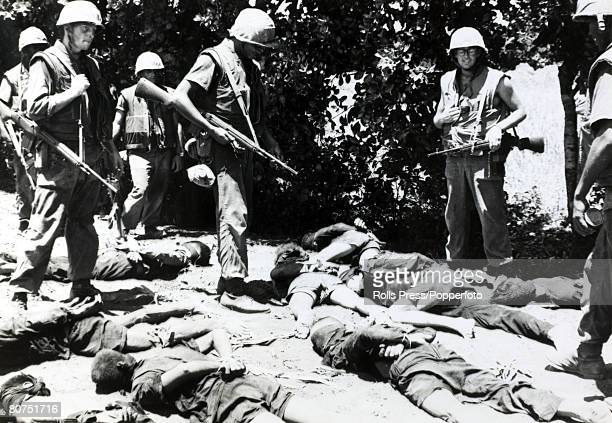 War and Conflict The Vietnam War near Chu Lai South Vietnam pic September 1965 A group of captured Viet Cong suspects guarded by US marines