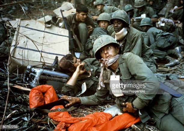 1967 Dak To South Vietnam American soldiers looking tired and exhausted during the costly fighting for Hill 875