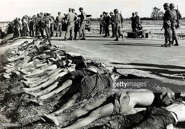 January 1965 Tay Ninh South Vietnam The bodies of dead Viet Cong insurgents killed in a government ambush litter the roadside