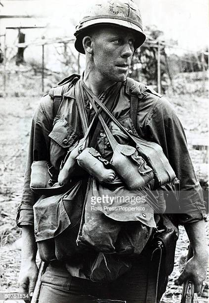 March 1966 Bong Son South Vietnam A typical soldier of the US 1st Cavalry showing the amount of gear carried during the conflict