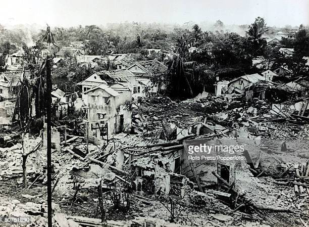March 1968 Hue South Vietnam The war torn city of Hue showing the rubble of homes after the battleafter American marines had finally secured the area...