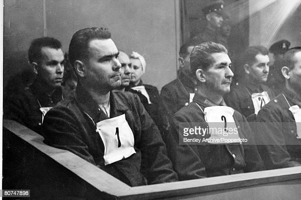War and Conflict, War Trial, pic: September 1945, SS, Haupsturmfuhrer Josef Kramer, Commandant of the Bergen-Belsen at his trial, with alongside...